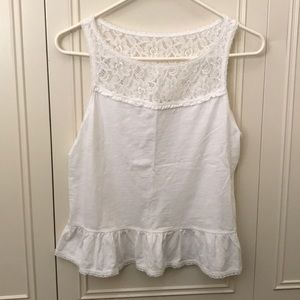 Abercrombie and Fitch white lace peplum tank